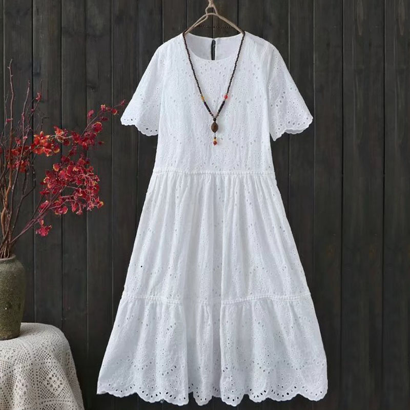 Free Shipping 2018 New Fashion Women Short Sleeve Cotton Lace White Summer Dresses Japan Style Long Mid-calf Dresses Embroidery