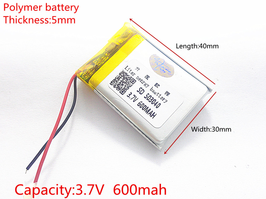 3.7V 600mAh 503040 Lithium Polymer Li-Po Rechargeable Battery li-ion cells For Mp3 Camera mobile phone GPS Vedio Game toys