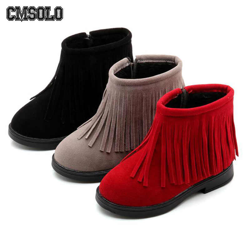 2519e3f1173 CMSOLO Girls Boots Lovely Tassel Shoes For Girls Winter Warm Black Red Grey  Kids Children Fashion