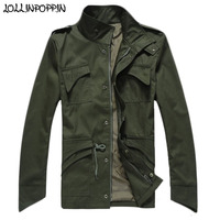 Spring Jacket Men Military Style Jackets Multi Pockets Mens Black / Army Green Jacket With Epaulets Waist Drawstring