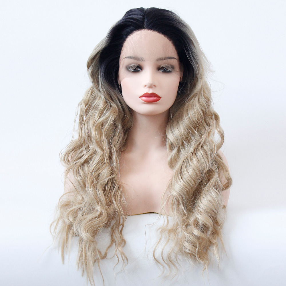VNICE Loose Deep Wave Ombre Honey Blonde Wig Synthetic Lace Front Wigs Brown Elastic Lace Glueless Heat Resistant Wig Mixed 613