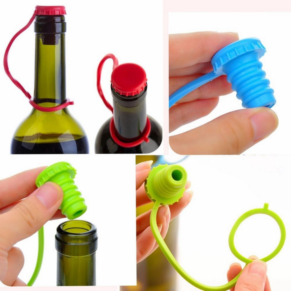 New Kitchen Anti lost Silicone Hanging Button Seasoning Beer Wine Cork Stopper Plug Bottle Cap Cover Perfect Home Kitchen Tools