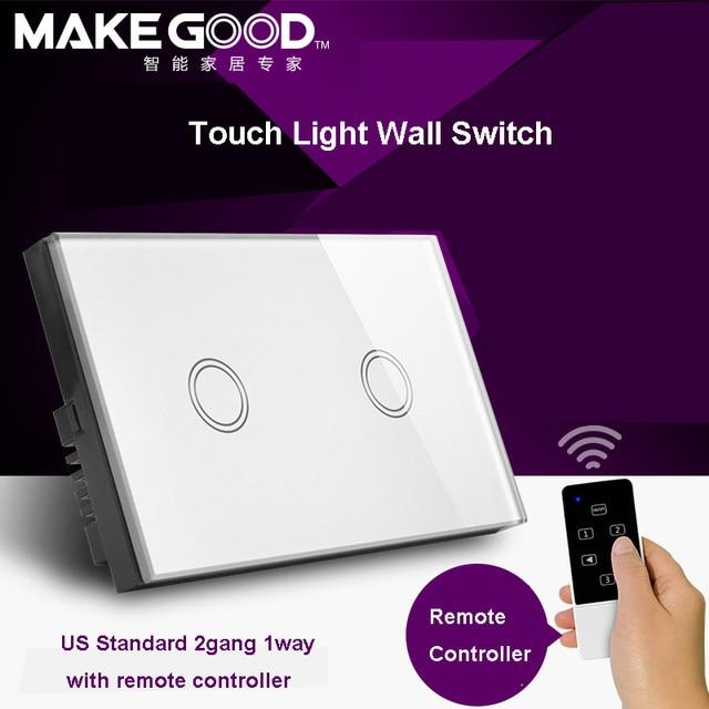 MakeGood США Модель 2 Gang 1 way Дистанционный Сенсорный Стекло Экрана Свет переключатель с Пультом дистанционного управления 433 МГц by rm pro rm 2 для smar дома