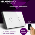 MakeGood US Model 2 Gang 1 way Remote Touch Glass Screen Light Switch with Remote Controller 433Mhz by rm pro rm 2 for smar home