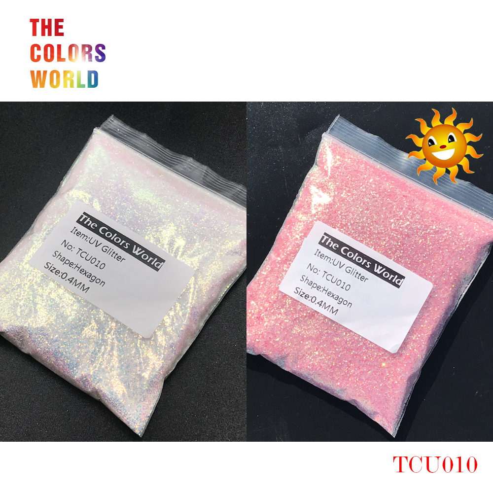 TCT-202 UV Glitter ultraviolet Light Hexagon Shape 0.4MM Nail Glitter Nail Decorations Nail Gel Makeup Facepaint DIY Accessorie