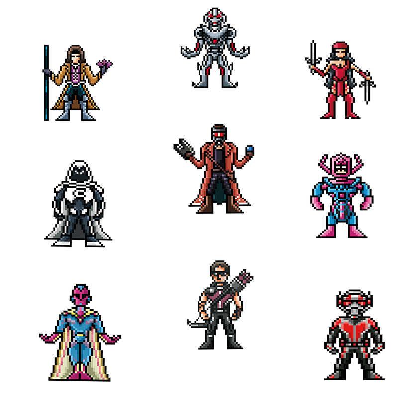 64 шт. Пиксельная наклейка s для MARVEL Super Hero для ...