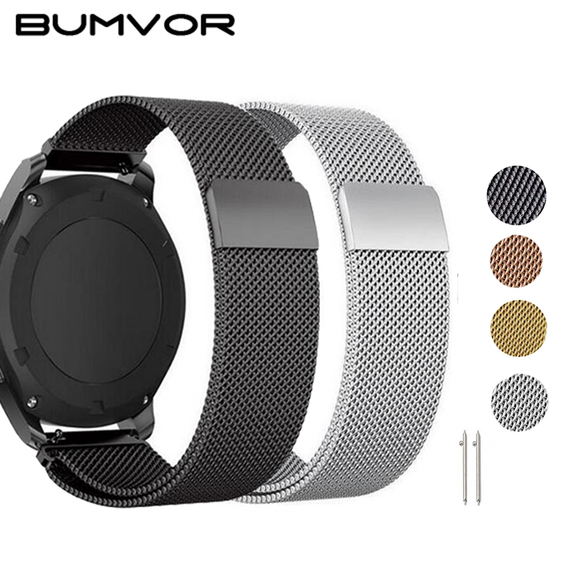 Metal Milanese Loop Band For Huami AMAZFIT Bip Strap 20MM 22MM Wrist Band Belt For Samsung Gear S3 Classic Frontier Strap