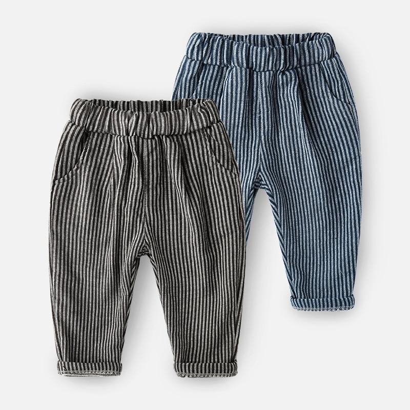 TENYUE, Baby Autumn Cotton Joker Pants Children's Wear Boys Spring and Autumn Baby Pants Children's Vertical Striped Pants striped tape applique velvet pants