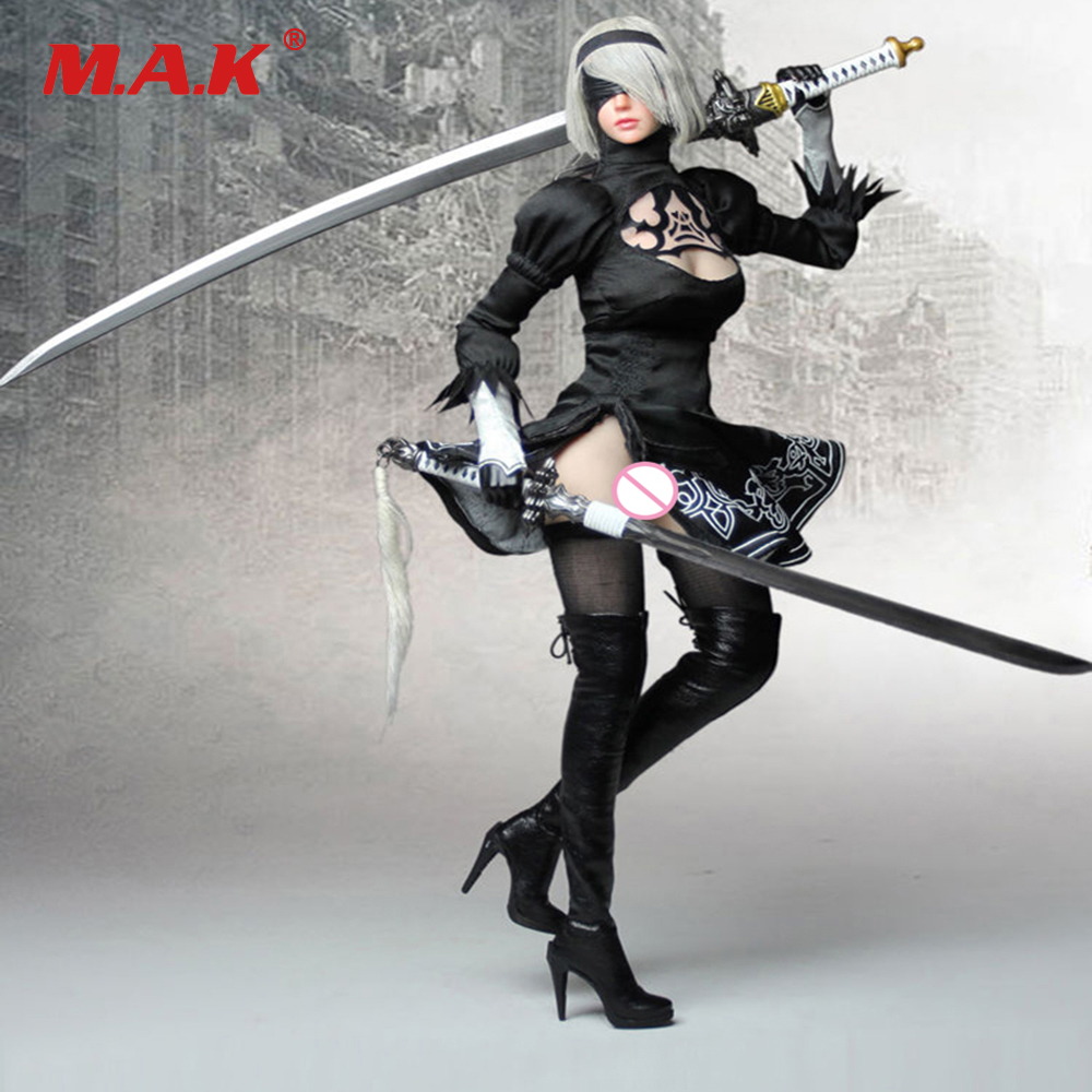 1/6 Female Clothes Set with Head Sculpt PS4 Game NieR Automata 2B YoRHa No. 2 Type B Girl without Body for 12'' Figure Body 1 6 scale the game of death bruce lee head sculpt and kungfu clothes for 12 inches figures bodies