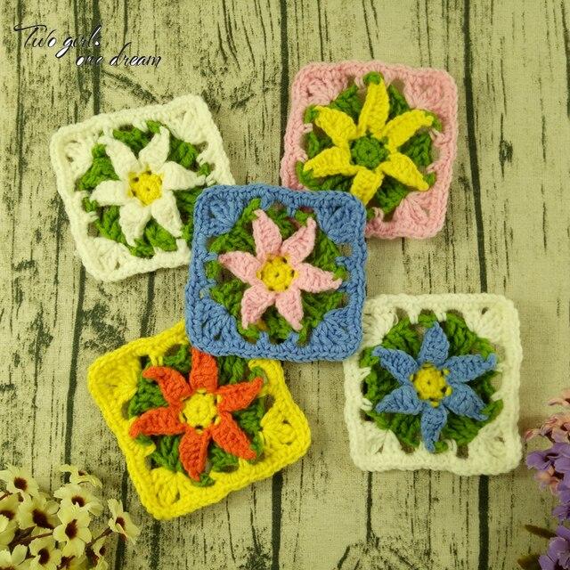 Flores Ganchillo. Simple Unids Cuadrado Ganchillo Hechas A Mano ...