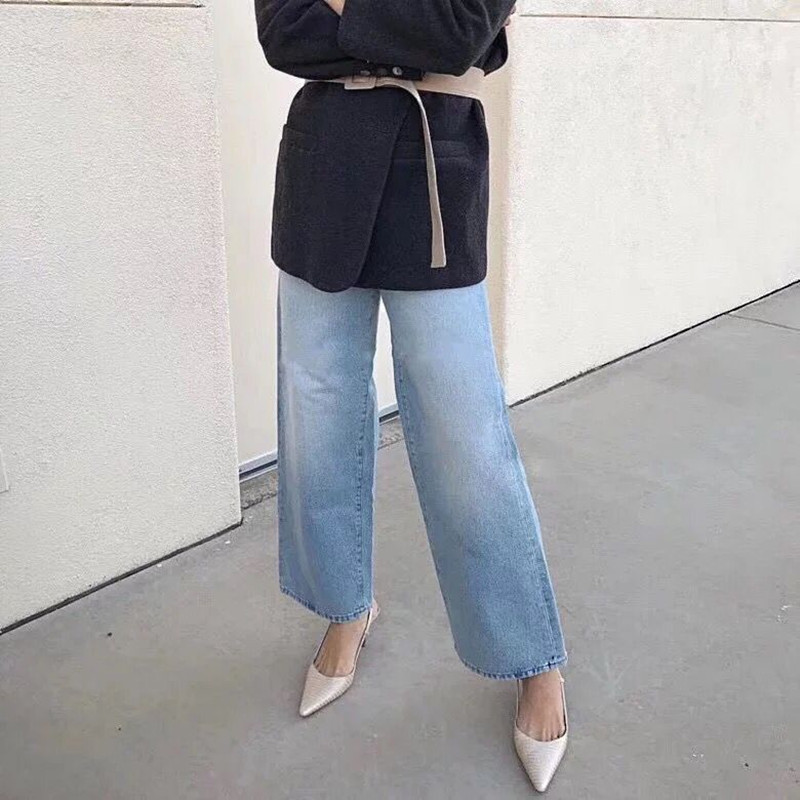 2019 New Women Wide Leg   Jeans   High Waist Fashion Long Pants