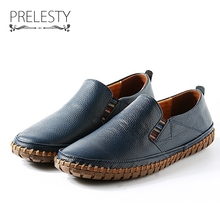 Prelesty Luxury Brand Simple Men Shoe Loafers Natural Leather Casual Sh
