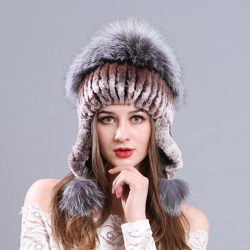 Chaud hiver chapeau pour femmes 2017 laine tricoté femmes oreilles de chat Faux lapin chapeaux Skullies fourrure pompon casquettes femme bonnets Bonnet Femm