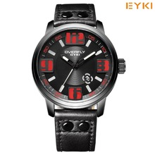 2016 EYKI New Non-mainstream Rive Luminous Hands Fashion Watch With Leather Strap Men Calendar Sport Watches Thorloges Mannen