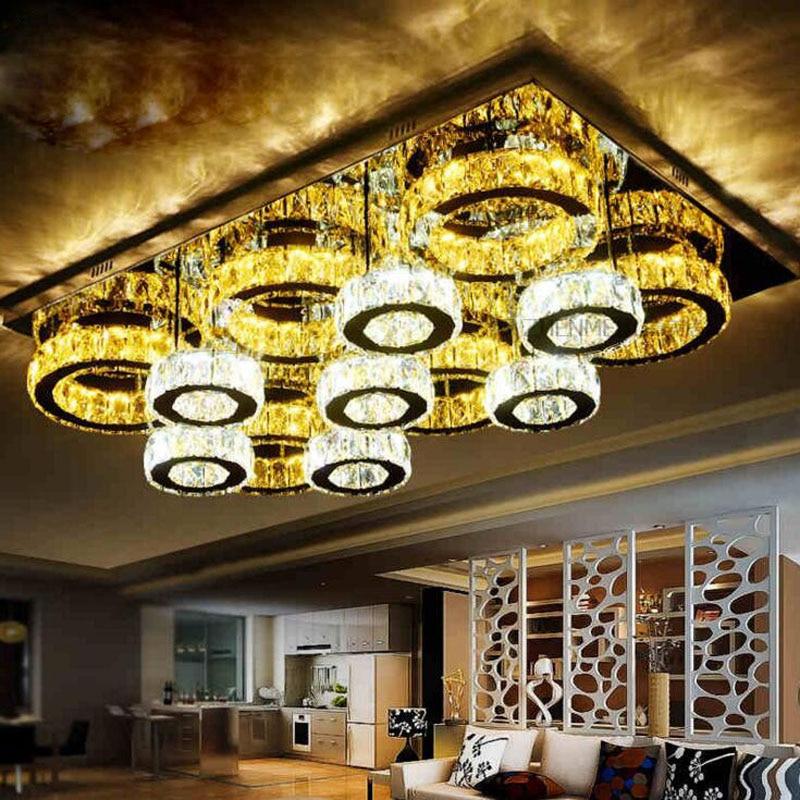 Modern Minimalist Stainless Steel Led Crystal Ceiling Lamp Living Room Bedroom Creative Crystal Lamps And Lanterns Led Lighting Street Price Ceiling Lights