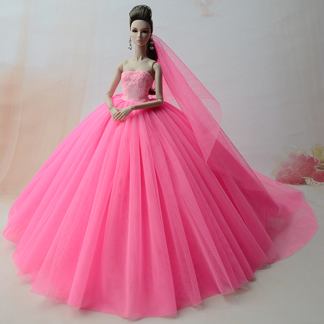 Elegant Lace Party Dress + Veil For 1/6 Doll