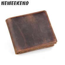 цена на Neweekend 100% Genuine Leather Wallet Men Purses Cowhide Wallets Vintage Quality Guarantee Lether Wallet Carteira Masculina 2802
