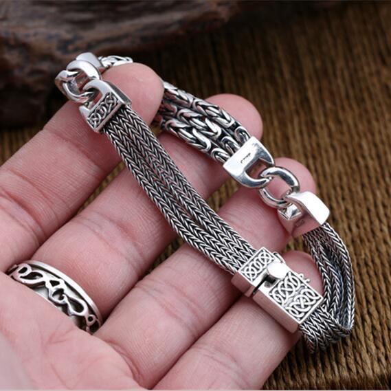 Tissé Chaîne Multi-couche Bracelet Hommes Femmes 100% Pur Solide En Argent Sterling 925 Vintage Byzantin Bracelet Cool Hommes Bijoux
