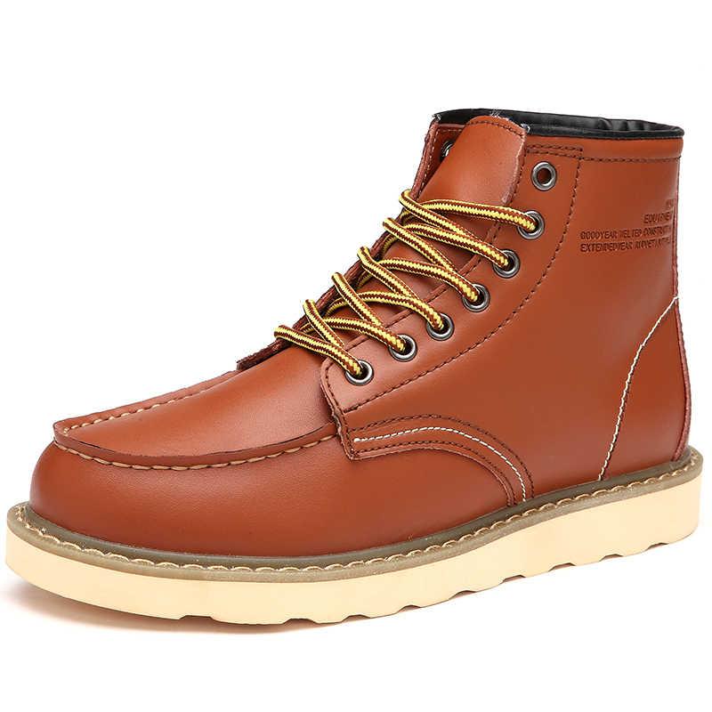 Moda dana bölünmüş sonbahar kış sıcak kürk Vintage motosiklet botları erkek Martin ayakkabı erkekler kar ayak bileği yüksek üst erkek çizmeler