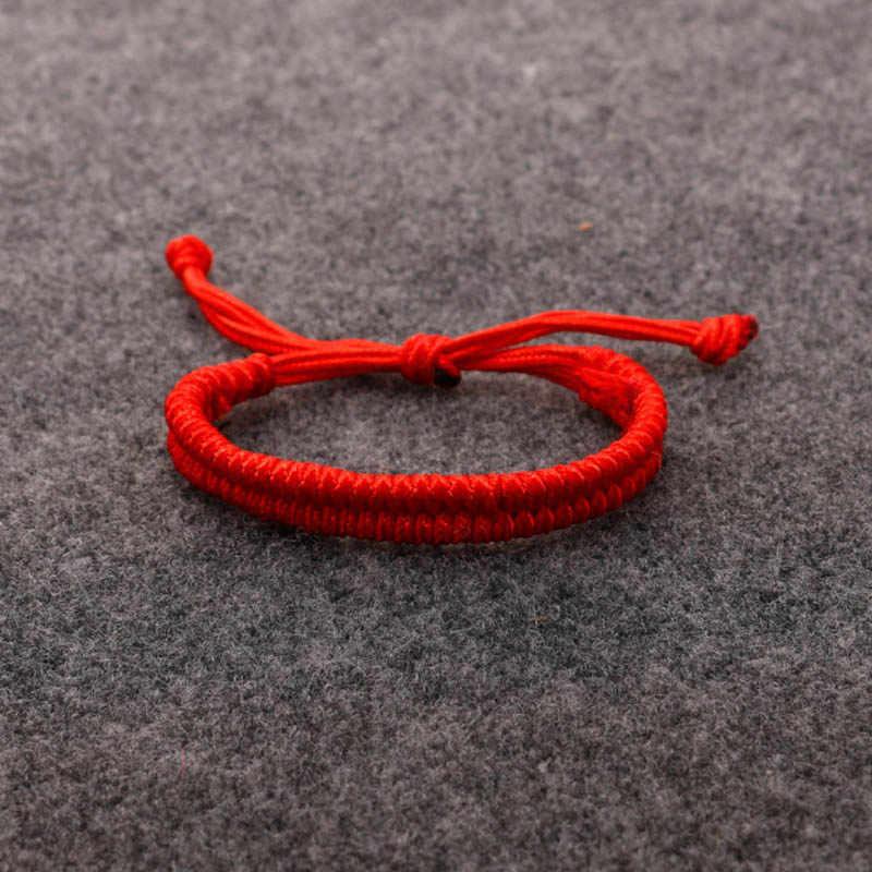 Caliente 2019 cuerda de la suerte mujeres hombres pulsera y brazaletes hilo hecho a mano Rojo Negro pareja amigos joyería de moda