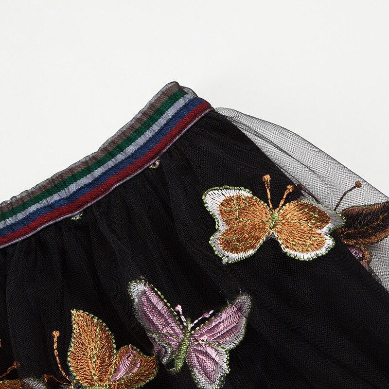 Dernières De Longueur Empire Jupe Été Mesh Broderie Cheville 5439 Femmes Mode Papillon Yigelila 2019 Vacances IH1wTqq5