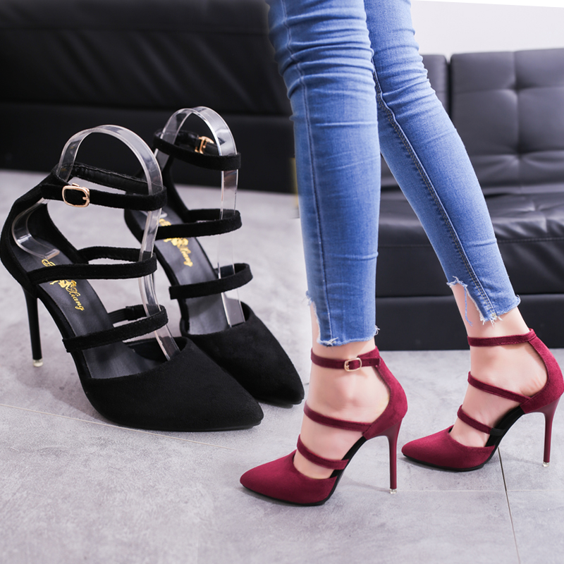 2019 Spring New Women's Shoes European and American Fashion Sexy High Heels Pointed Suede Hollow Work Shoes Simple Single Shoes(China)