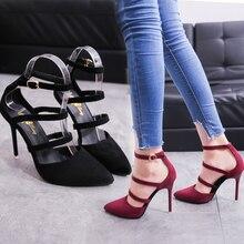 Primavera 2019 nuevos zapatos de mujer moda europea y americana tacones altos atractivos ZAPATOS DE TRABAJO huecos de gamuza Simple zapatos