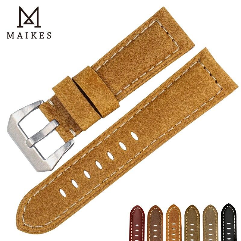 MAIKES Nueva correa de reloj 22 24 26mm accesorios de reloj correa de reloj de cuero genuino vintage para correas de reloj Panerai samsung gear s3