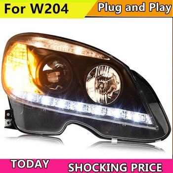 doxa Car Styling For W204 C180 C200 C260 Headlights 2007-2010 W204 LED Headlight DRL Lens Double Beam H7 HID bi xenon lens