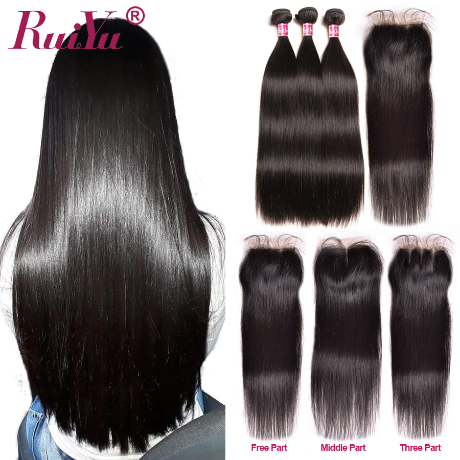 Peruvian Straight Hair Bundles With Closure Free Middle Three Part 4x4 Lace Closure With Human Hair