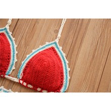 Sexy Handmade Swimsuit Knitted Bikini Set Push Up Crochet Swimwear Monokini Female Bandage Two Piece Red Bathing Swim Suit 2018