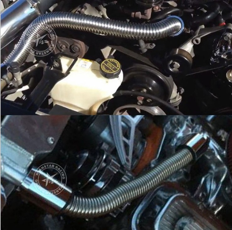 36 quot Flexible Upper Lower Radiator Hose Kit amp Stainless Steel w Chrome Caps V8 in Accessories from Automobiles amp Motorcycles