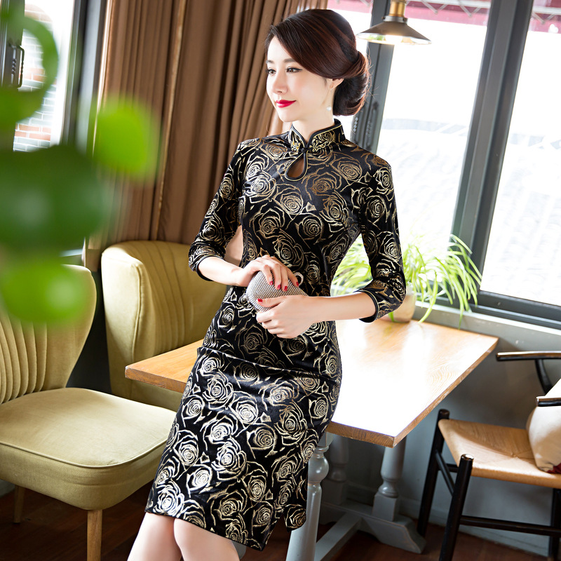 Elegant Velvet Cheongsam Chinese Women's party Dress Chinese Women velvet Dress Half Cheongsam QiPao Evening Formal Dress M-4XL