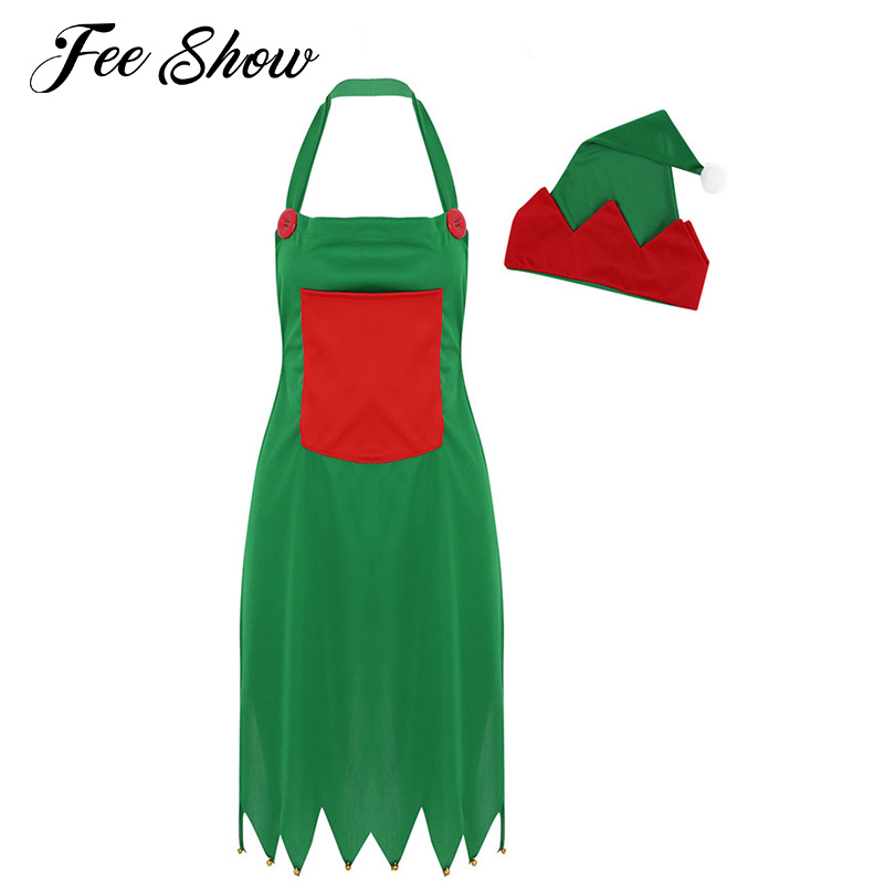 Girls Fairy Apron Christmas Elves Apron with Santa Fairy Hats Sexy Cosplay Costumes Kitchen Aprons Adult Christmas Costume Apron