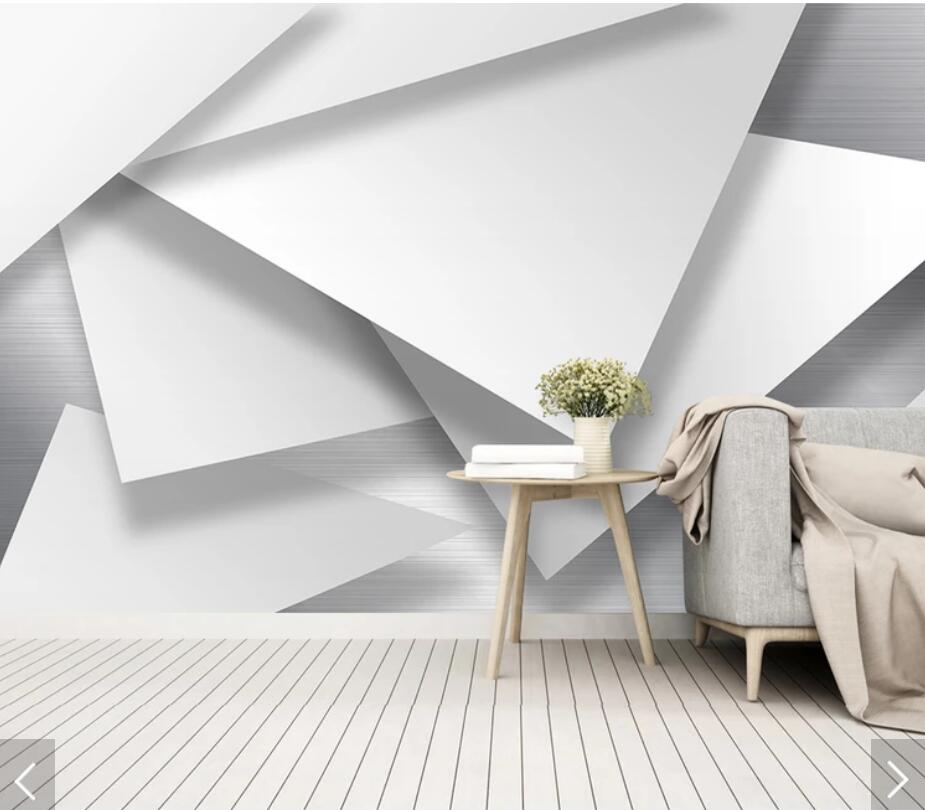3D Abstract Geometric White Wallpaper Mural Art Wall