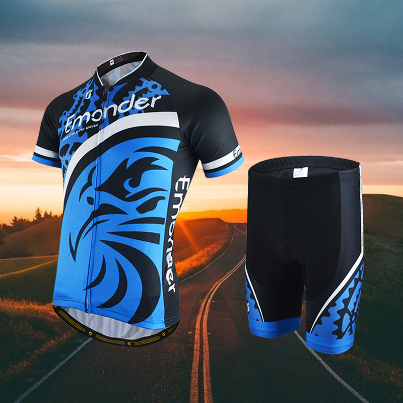EMONDER 2018 Men Cool Cycling Jersey Set Short Sleeve Sportswear Polyester Summer Breathable Bike Cycling Clothing Ropa Ciclismo