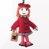 Bonsny Handmade Red French Doll Necklace Girls Statement Necklaces Doll Pendant 2015 News Cute Choker Girls Women Accessories