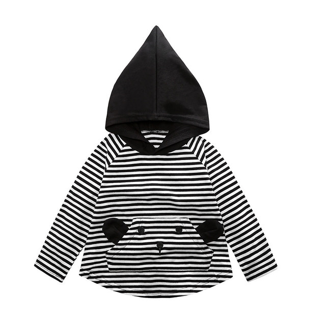 2018 Toddler Boys Stripe Sweatshirts Autumn Kids Long Sleeve Tops Baby Cotton Clothes Spring Children Cartoon Hoodies Outfits