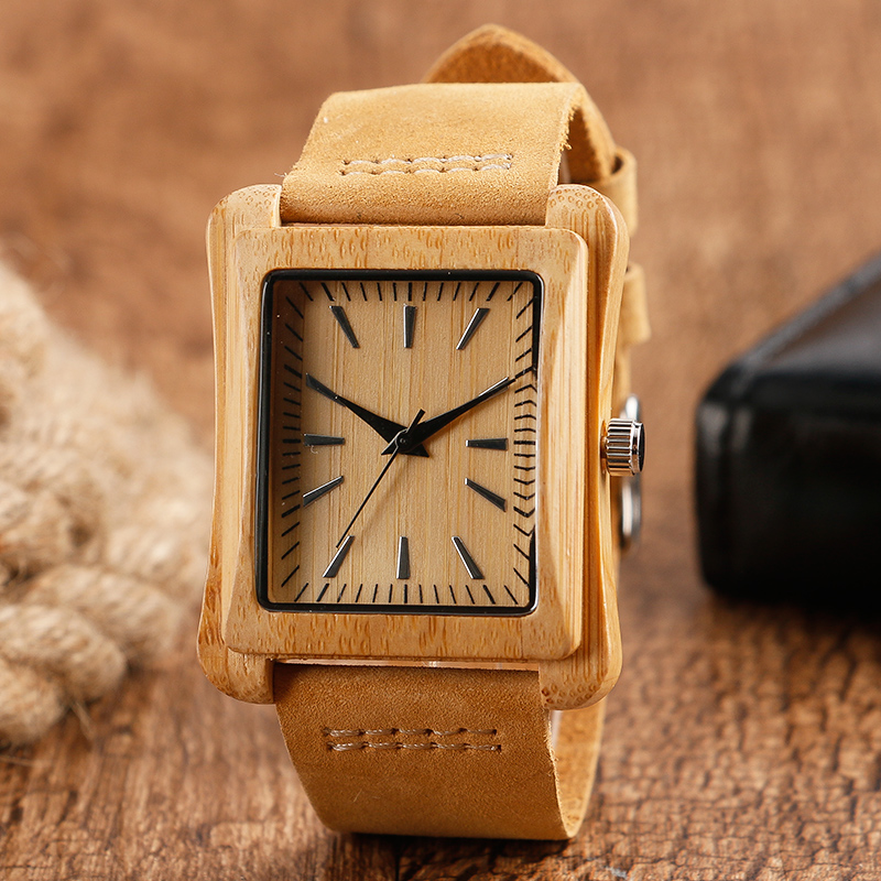 Minimalist Creative Wooden Watch Modern Mens Rectangle Dial Bamboo Leather Band Nature Wood Quartz Wrist Watch