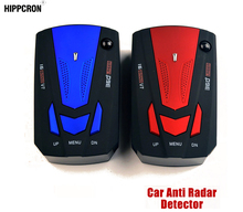 Hippcron Car Radar Detector English Russian Auto 360 Degree Vehicle V7 Speed Voice Alert Alarm Warning 16 Band LED Display