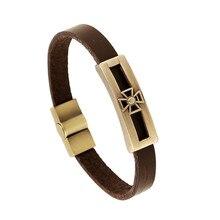 2017 New Fashion Cross Genuine Leather Bracelet Men Women Jesus Vintage Bronze Christian Religious Jewelry Bracelets&Bangles