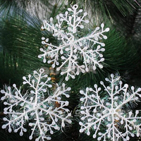 30pcs/lot 11cm Christmas Ornament White Plastic Christmas Snowflake Tree Window Christmas Decorations For Home