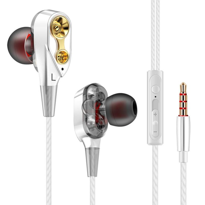 Original FG020 3.5mm In-Ear Metal Wired Earphone Dual Drive stereo bass HIFI headset Sport Earbuds With Microphone for phone