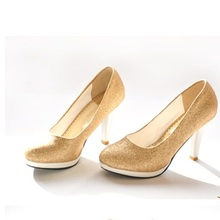 Lady Larger Size 35-46 Elegant Sequined Cloth Glitter Customized Round Toe High  Heels Shoes Women Pumps Party Wedding Nigh Club 8a17e62c52c7