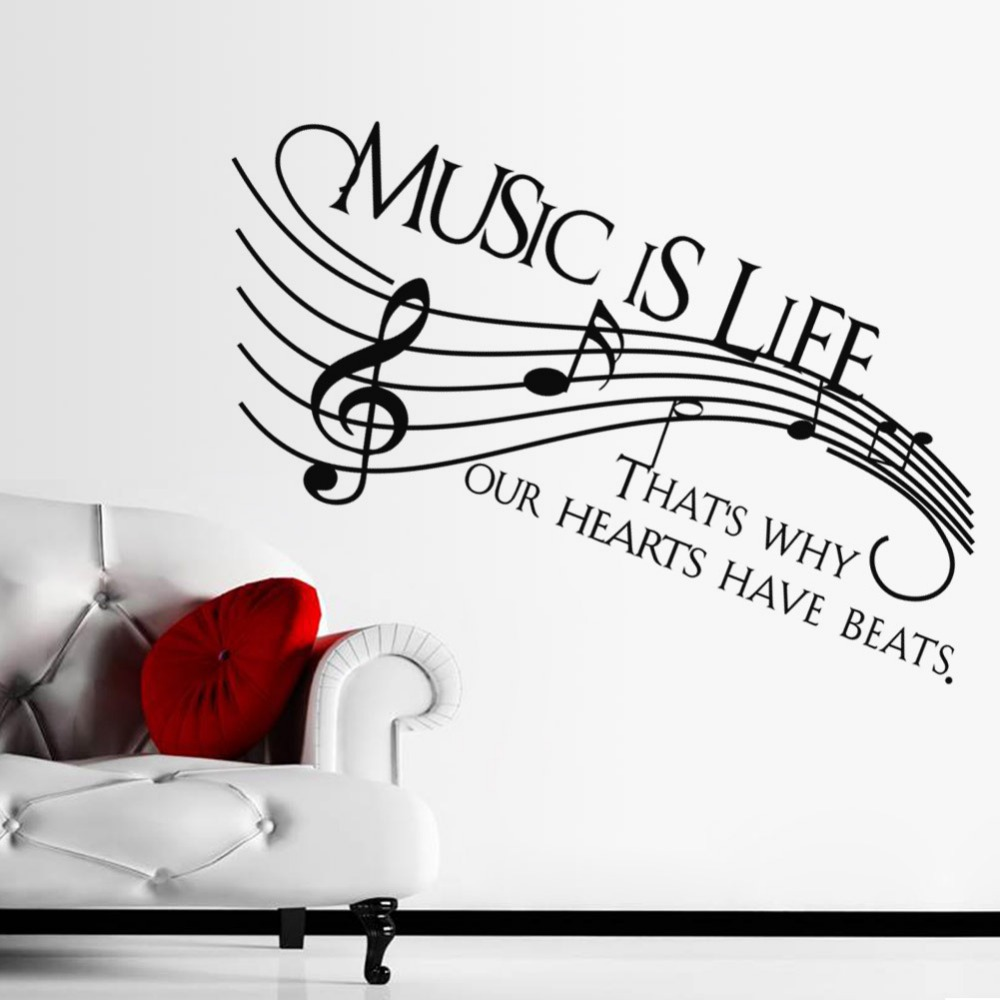 MUSIC IS LIFE Background Music Room Home Wall Sticker Decal Removable Waterproofing Living Bedroom Bar