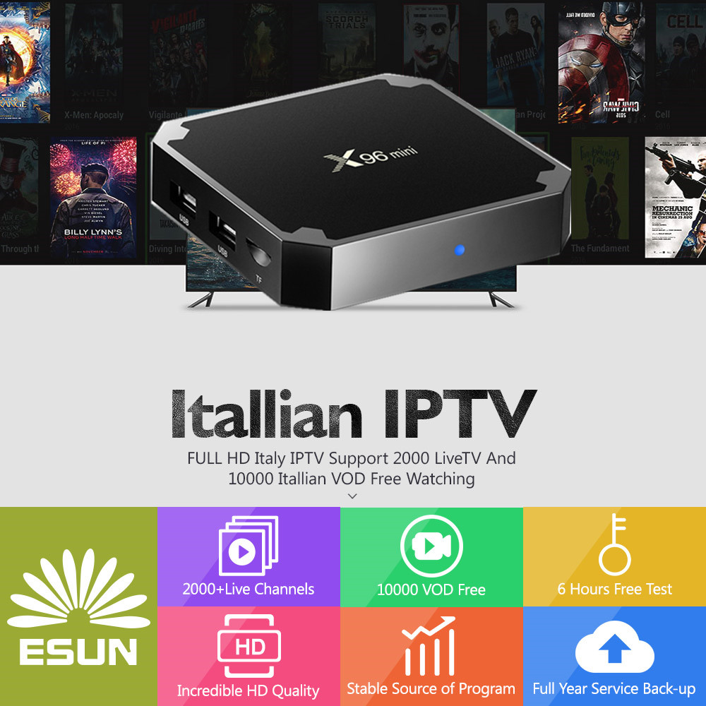 with1 year Italy IPTV Android tv box X96 Mini Italy IPTV EPG 4000+Live+VOD configured Europe Albania ex-yu XXX channels BOX a95x pro voice control with 1 year italy iptv box 2g 16g italy iptv epg 4000 live vod configured europe albania ex yu xxx