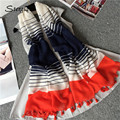 2017 new spring women blue long Striped stoles, shawls, scarves female scarfs with tassels complementos de mujer bufandas D118