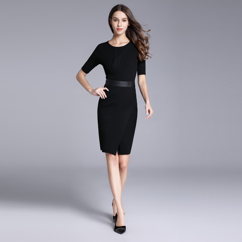 Real Photos New Korean Womens Fashion Knee-Length Dress 2018 Promotion Sexy Casual White Sheath Dresses for Woman Office Ladies