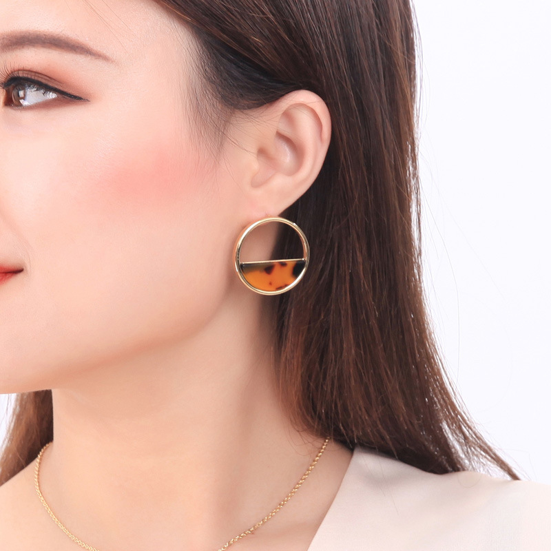 2019 Fashion Geometric Semicircle Leopard Grain Acrylic Sheet Earrings For Women Gold Color Alloy Circle Earring New hot image