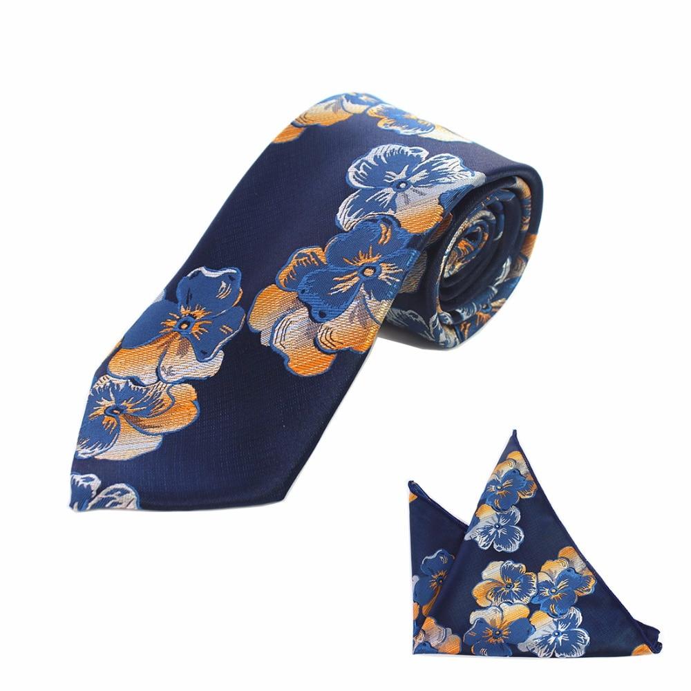 JEMYGINS Jauns ziedu svītrains 8cm zīda kāzu žakarda austu vīriešu kaklasaite Paisley kaklasaites kabatas kabatas lakatiņu komplekts Navy Blue Tie